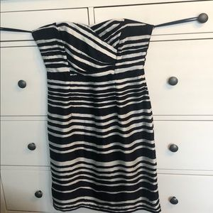 Black and white striped strapless H&M party dress